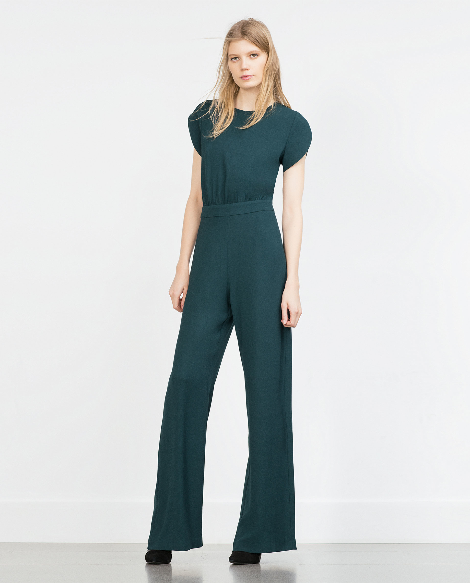 Zara Long Jumpsuit in Green | Lyst