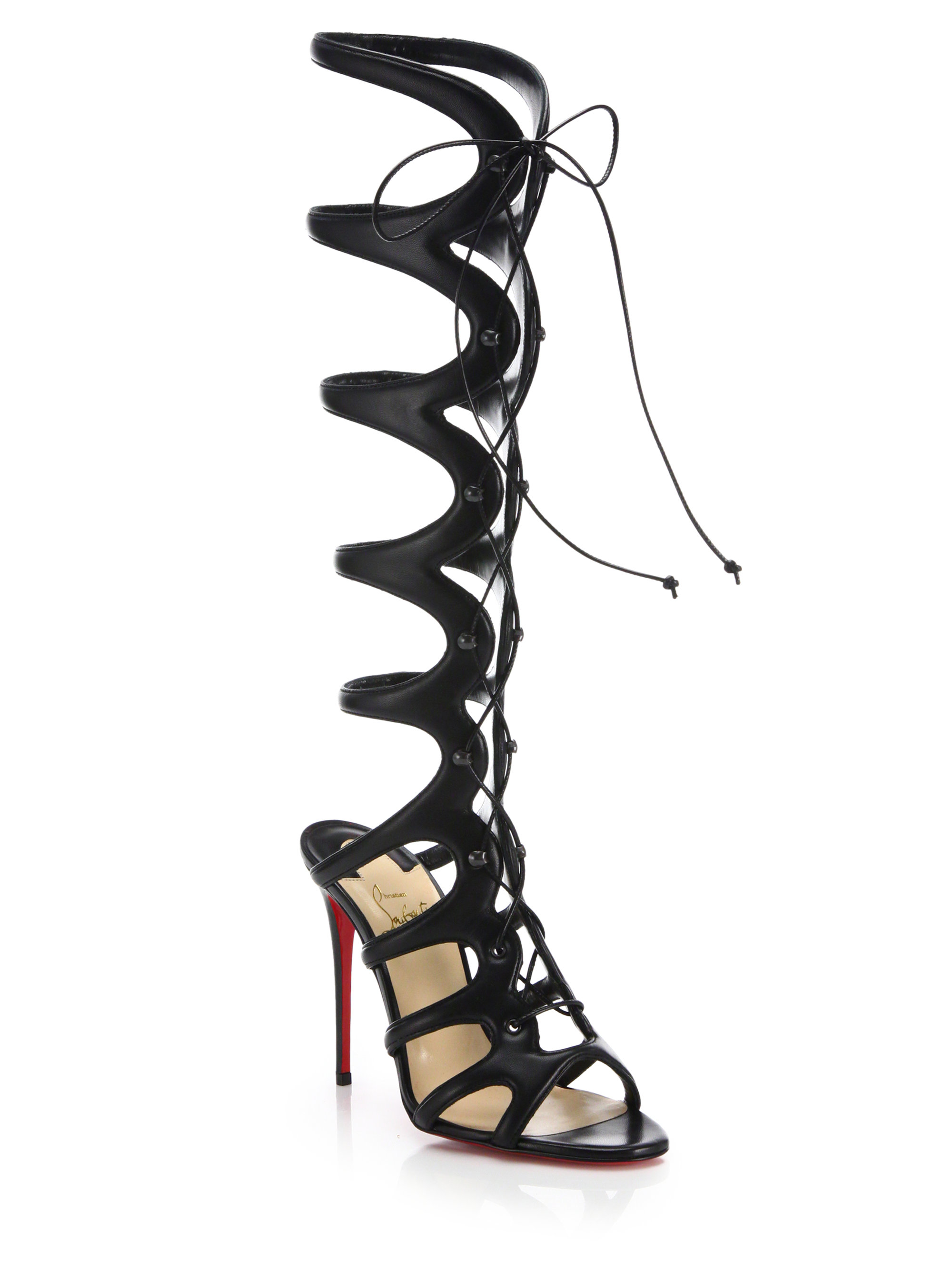 christian louboutin leather lace-up sandals
