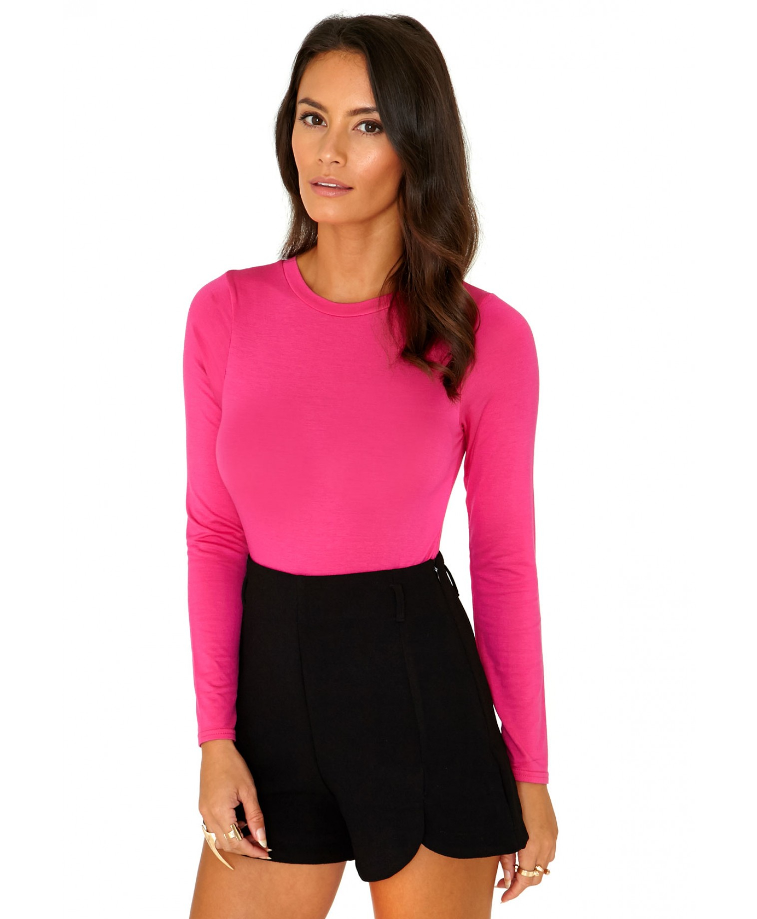 Lyst - Missguided Gerta Value Long Sleeve Bodysuit in Hot Pink in Pink 1cd177cf7
