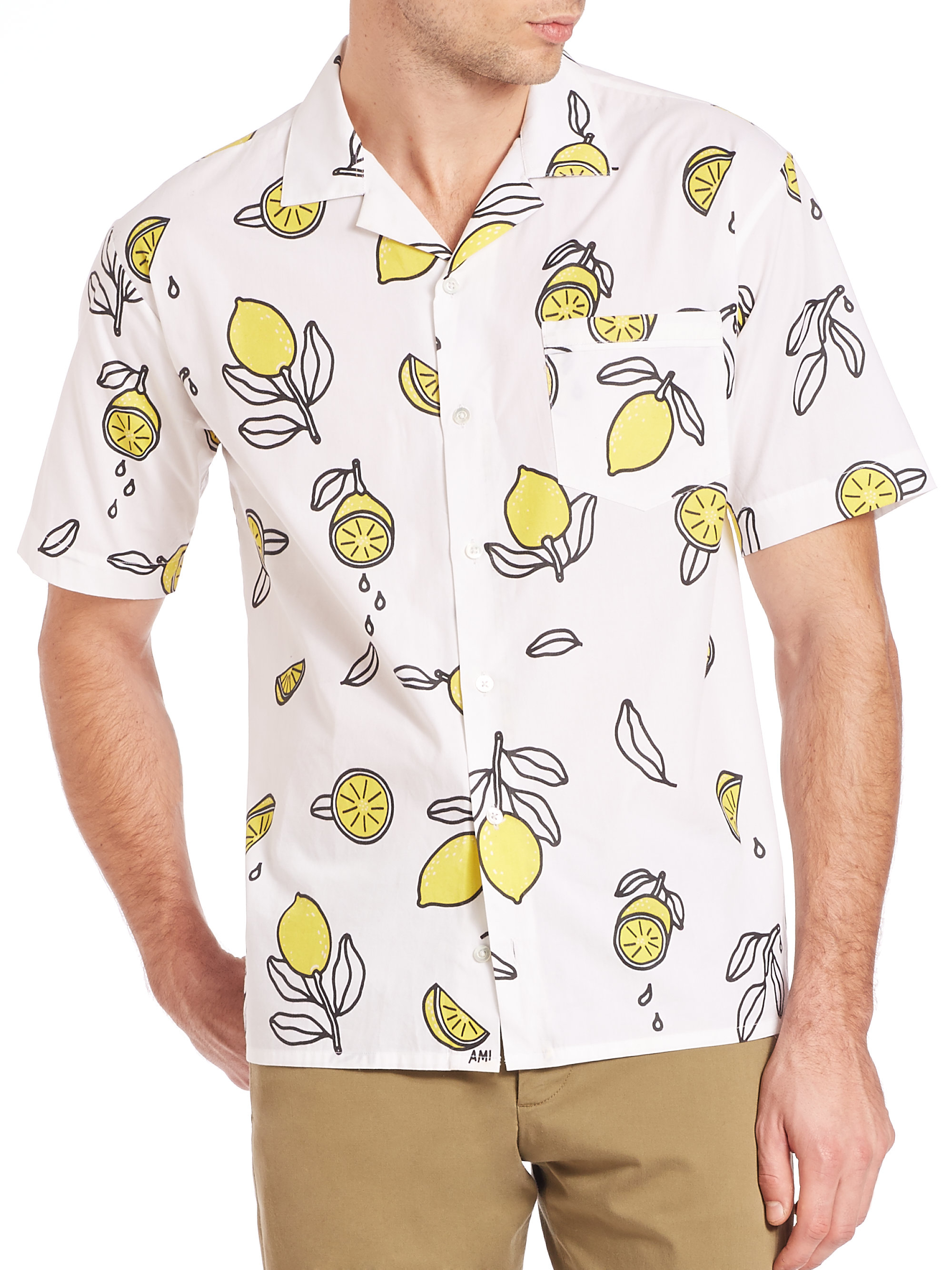 Ami Lemon Print Shirt In Yellow For Men Lyst