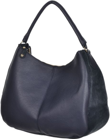 Stefanel Suede Leather Hobo Bag in Blue (sea blue)