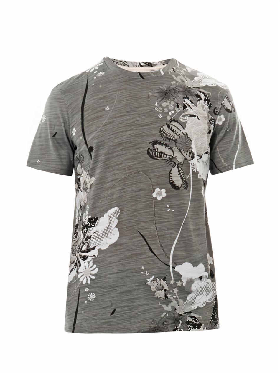 Rag Bone Leo Floralprint Tshirt In Gray For Men Lyst