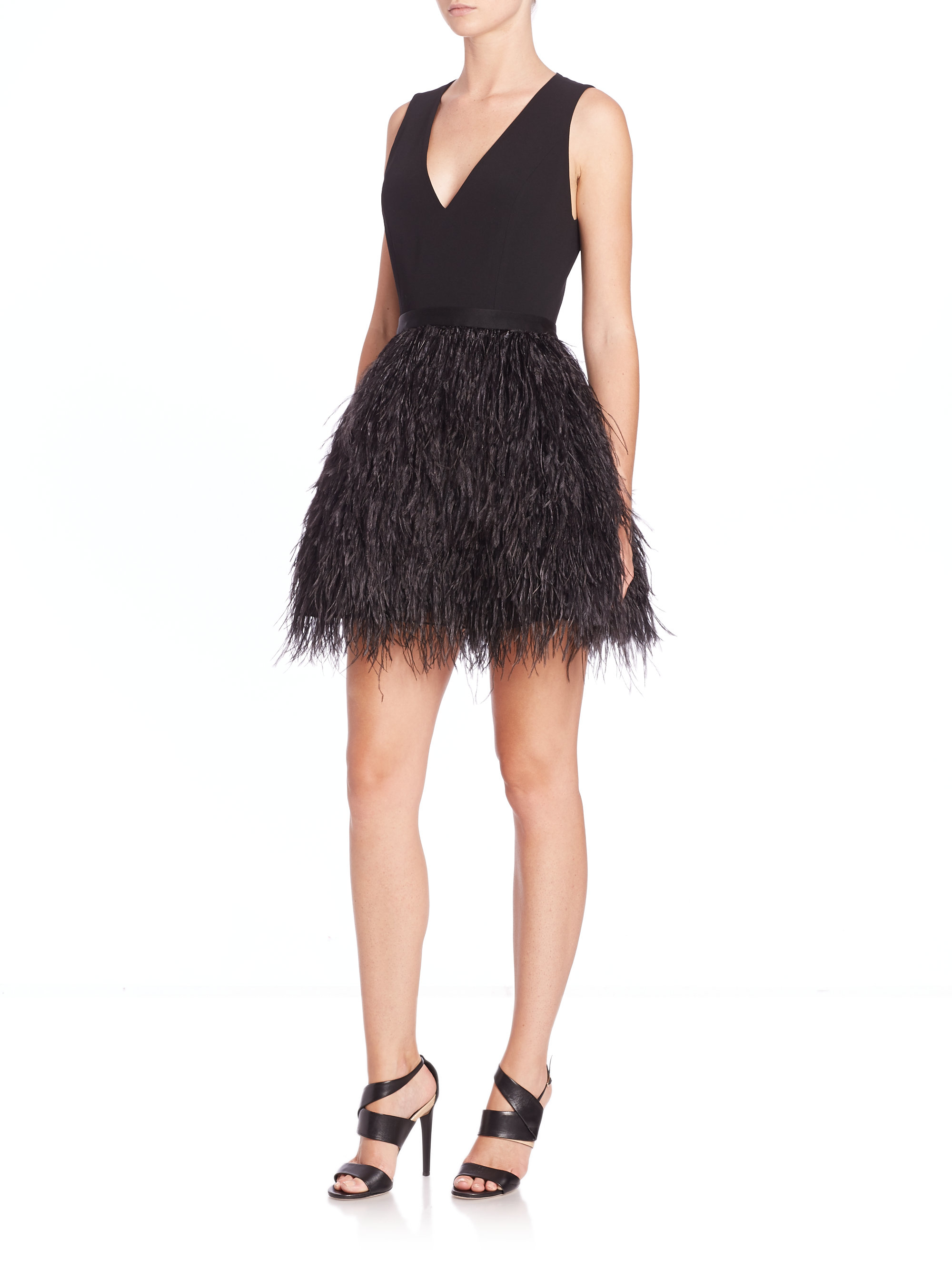 Lyst Alice Olivia Kiara Ostrich Feather Fit Amp Flare