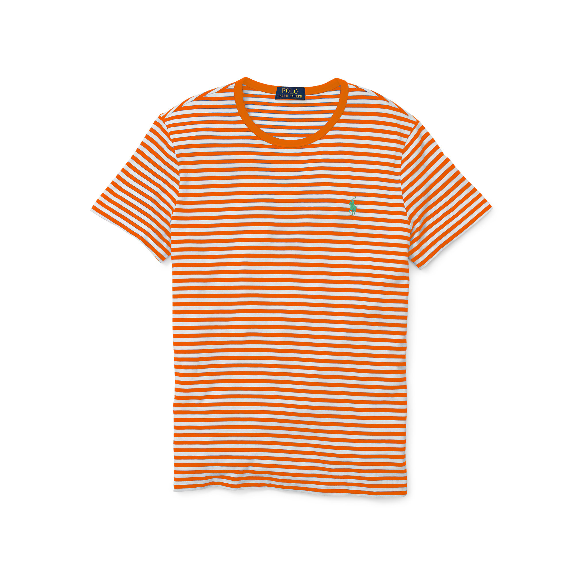 Polo ralph lauren Striped Cotton Jersey T-shirt in Orange for Men ...