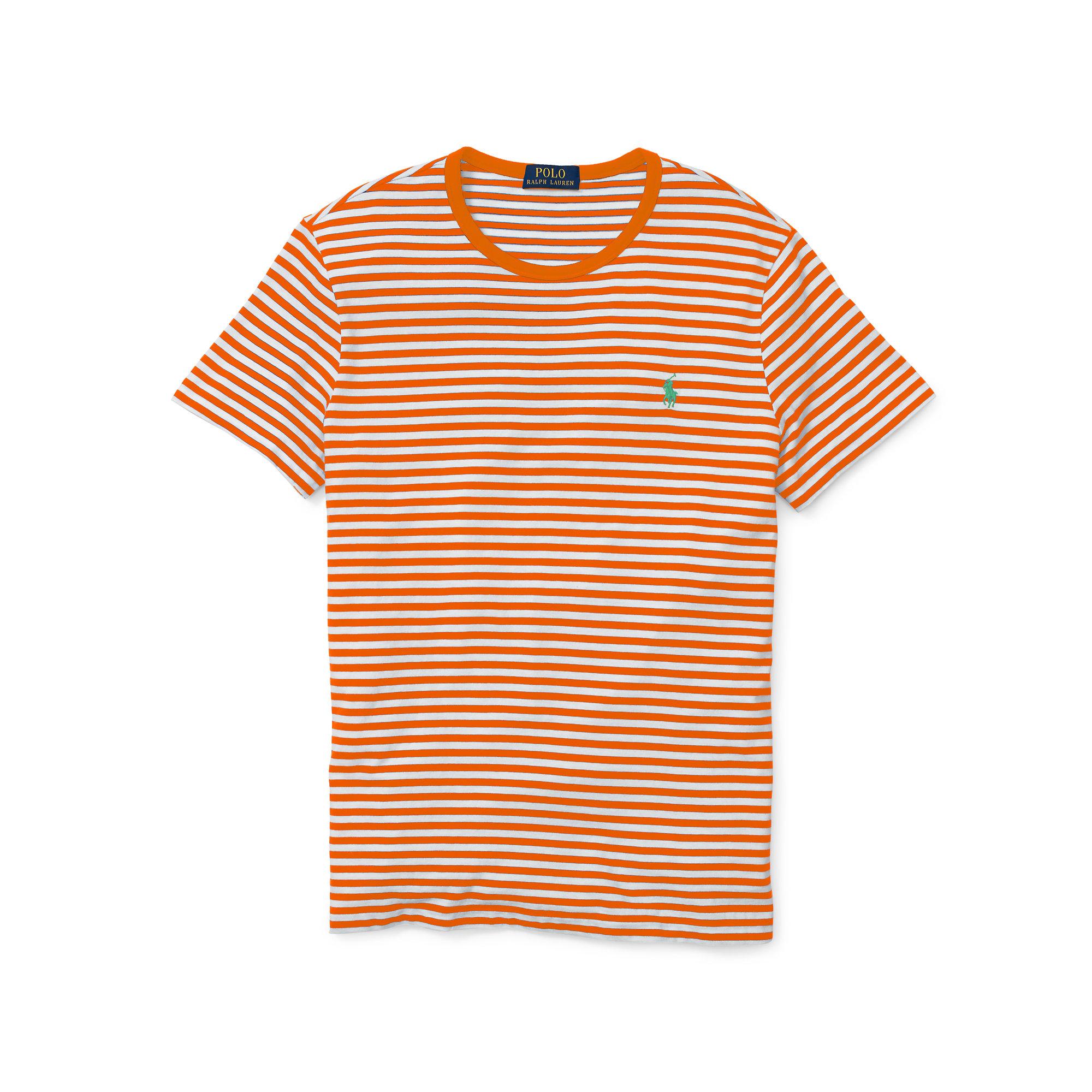 Polo ralph lauren Striped Cotton Jersey T-shirt in Orange ...