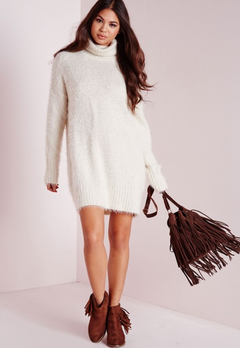 Lyst - Missguided Fluffy Roll Neck Jumper Dress Off White in White 6a3d589ca
