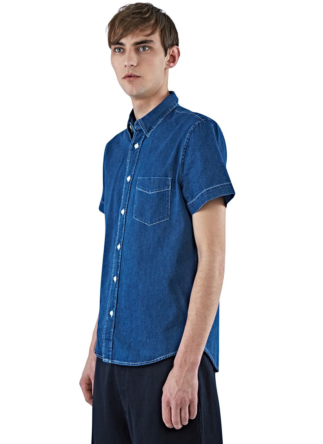 Lyst acne studios men 39 s isherwood short sleeved denim for Short sleeved shirts for men