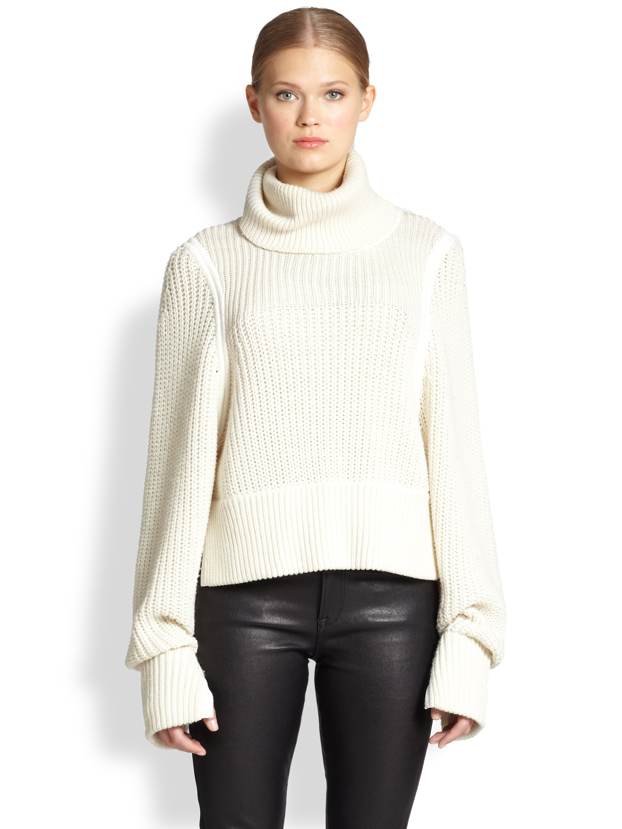 Helmut lang Austere Oversized Ribbed Wool Turtleneck Sweater in ...