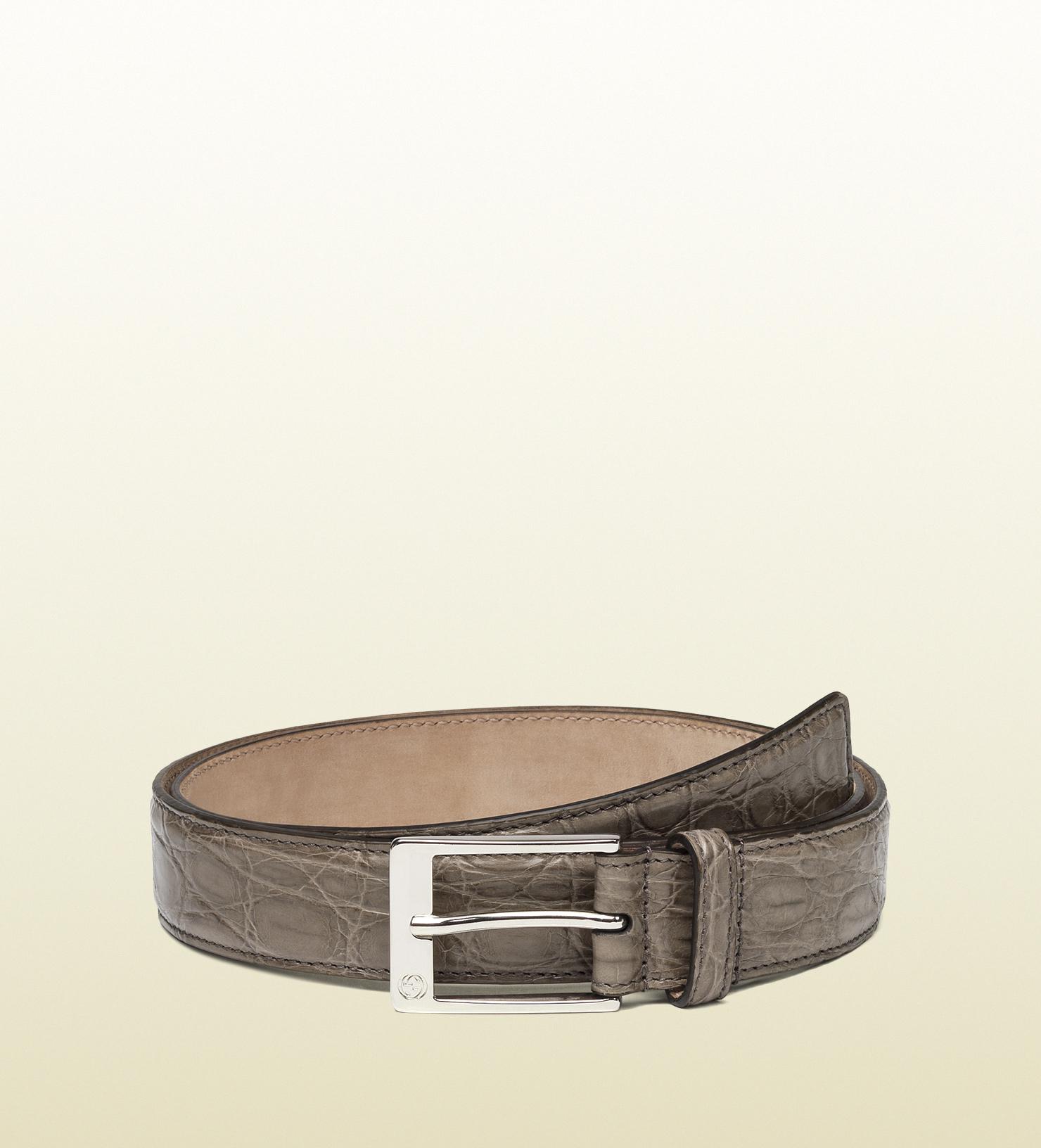 4a2da38f9ad Gucci Crocodile Belt With Square Buckle in Gray for Men - Lyst