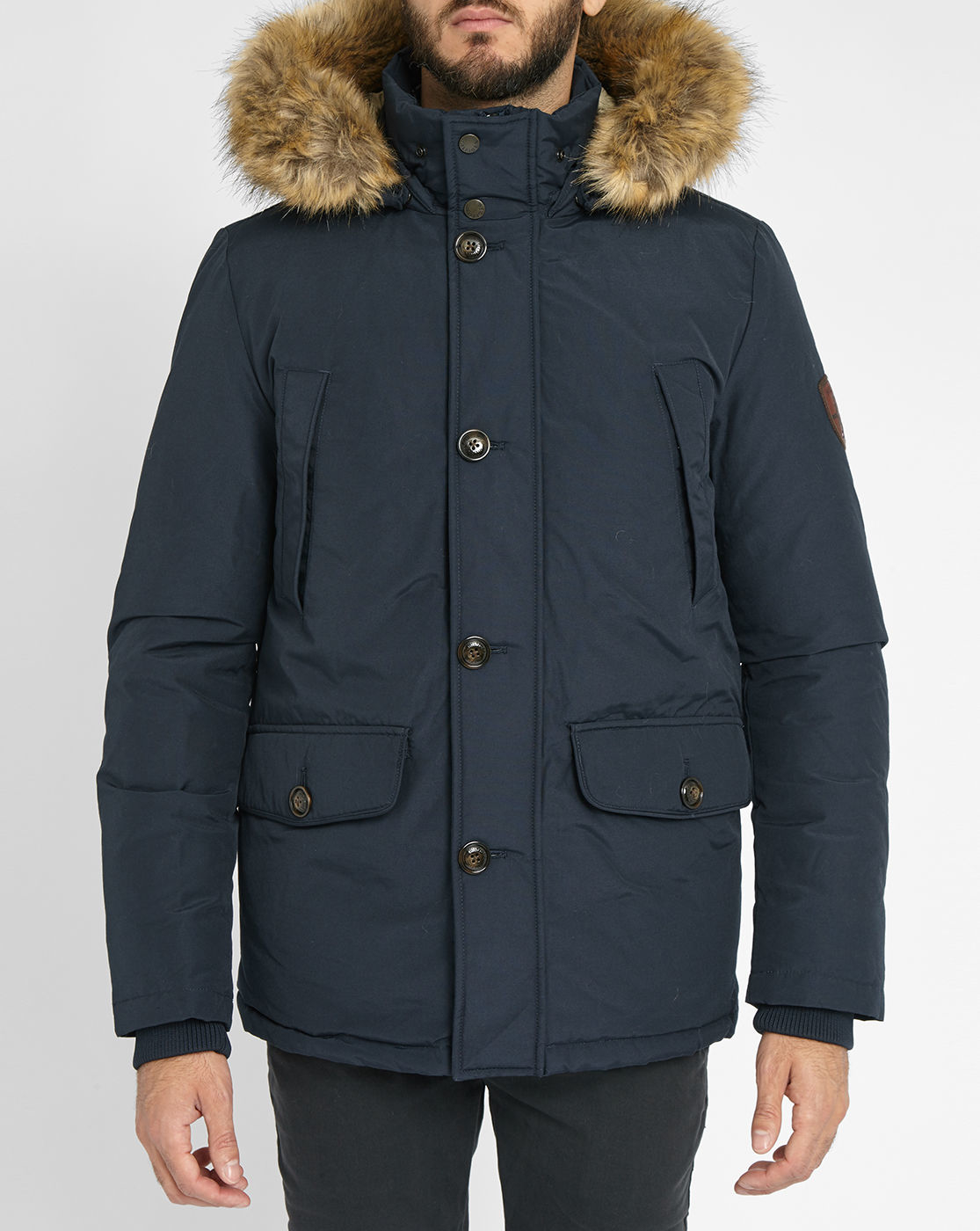 tommy hilfiger blue houston parka with removable fur in. Black Bedroom Furniture Sets. Home Design Ideas