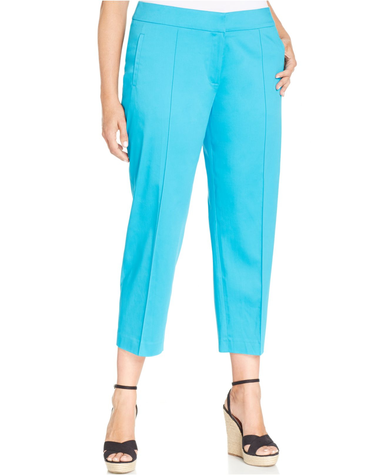 Jones new york Collection Plus Size Grace Capri Pants in Blue | Lyst
