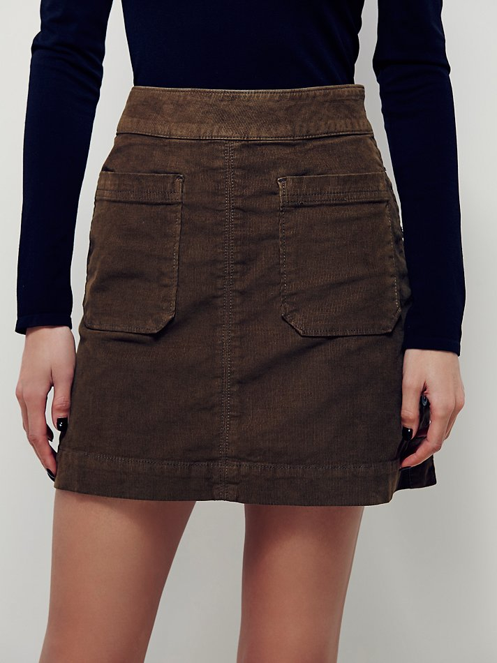 free womens come say hello cord mini skirt in brown lyst