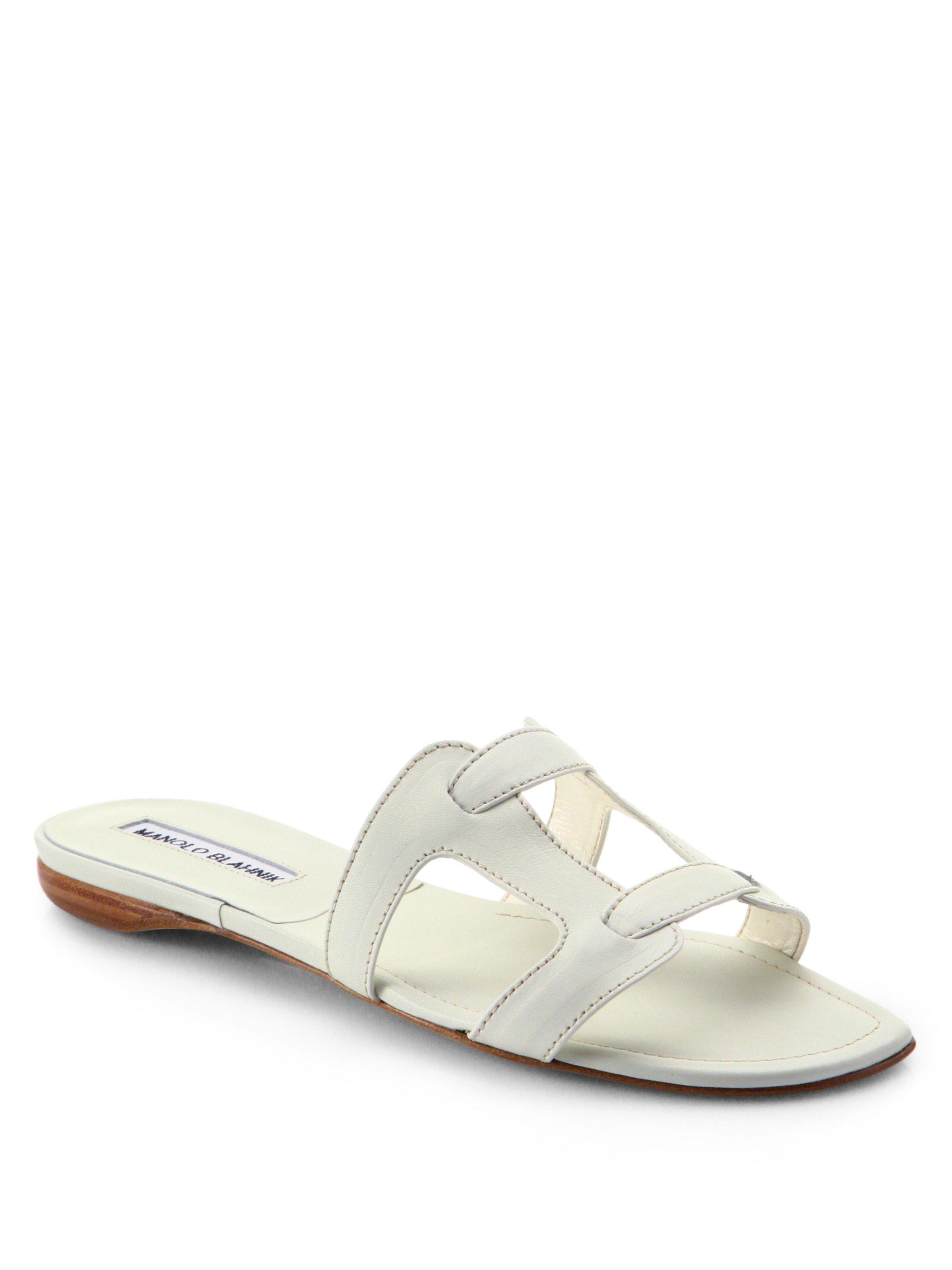 Manolo Blahnik Grella Leather Slide Sandals In White Lyst