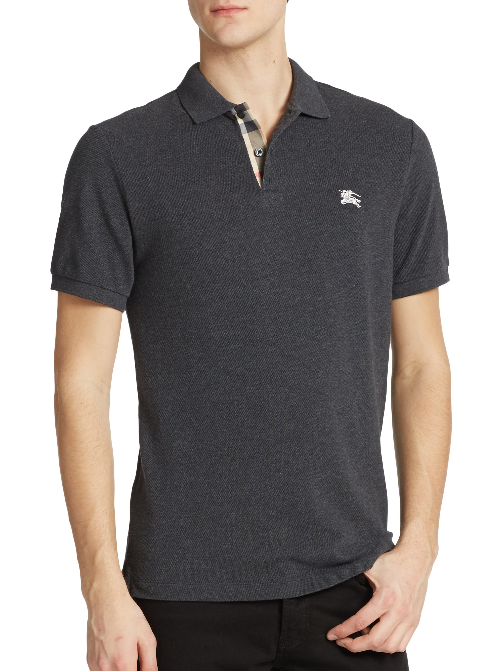 Burberry Brit Cotton Logo Polo In Gray For Men Charcoal