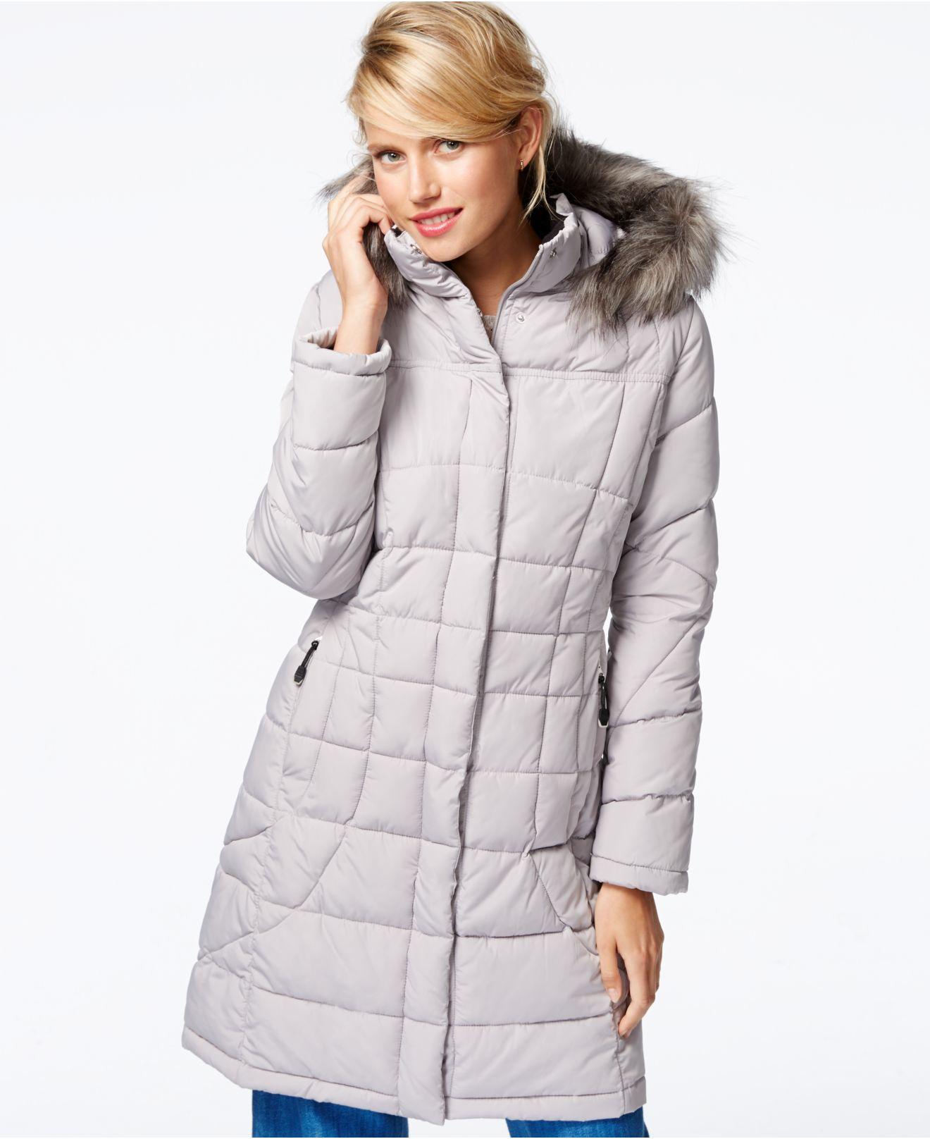 0dbdc18ccfc2 Calvin Klein Faux-fur-trim Quilted Puffer Coat in Metallic - Lyst