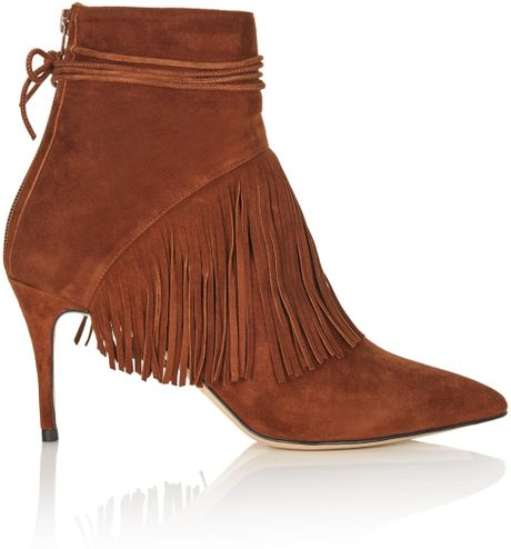 bionda castana nutmeg suede fringed ankle boots in brown