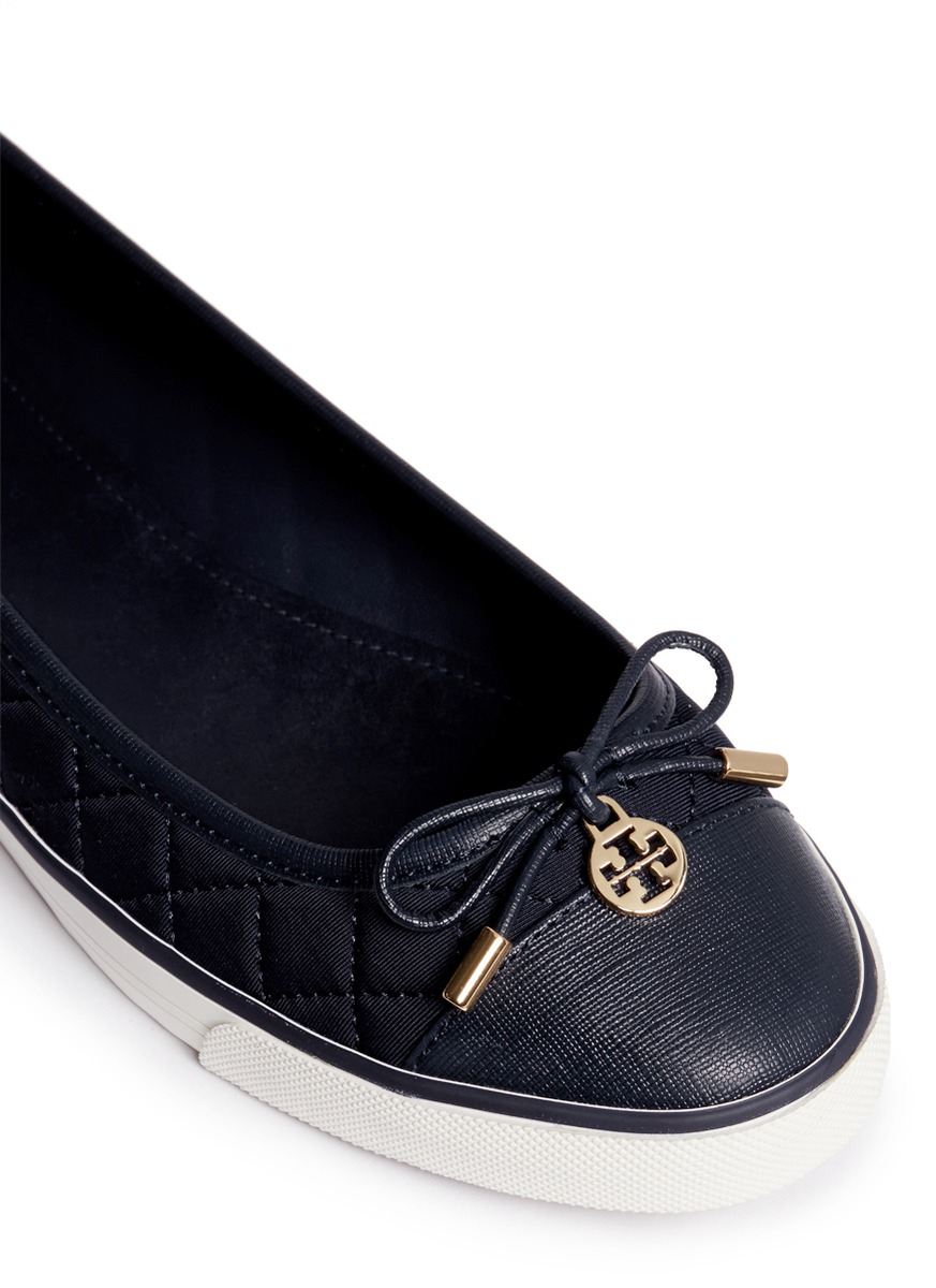 5a900de4c6fac Lyst - Tory Burch  caruso  Quilted Neoprene Bow Flats in Blue