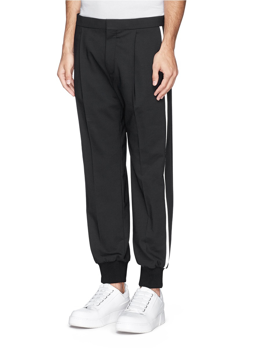 Lyst Neil Barrett Denim Satin Side Stripe Pants In Black