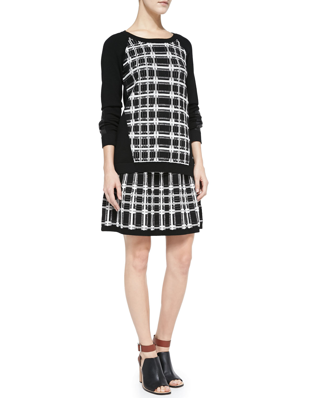 Nanette lepore Series Plaid A-Line Skirt in Black | Lyst