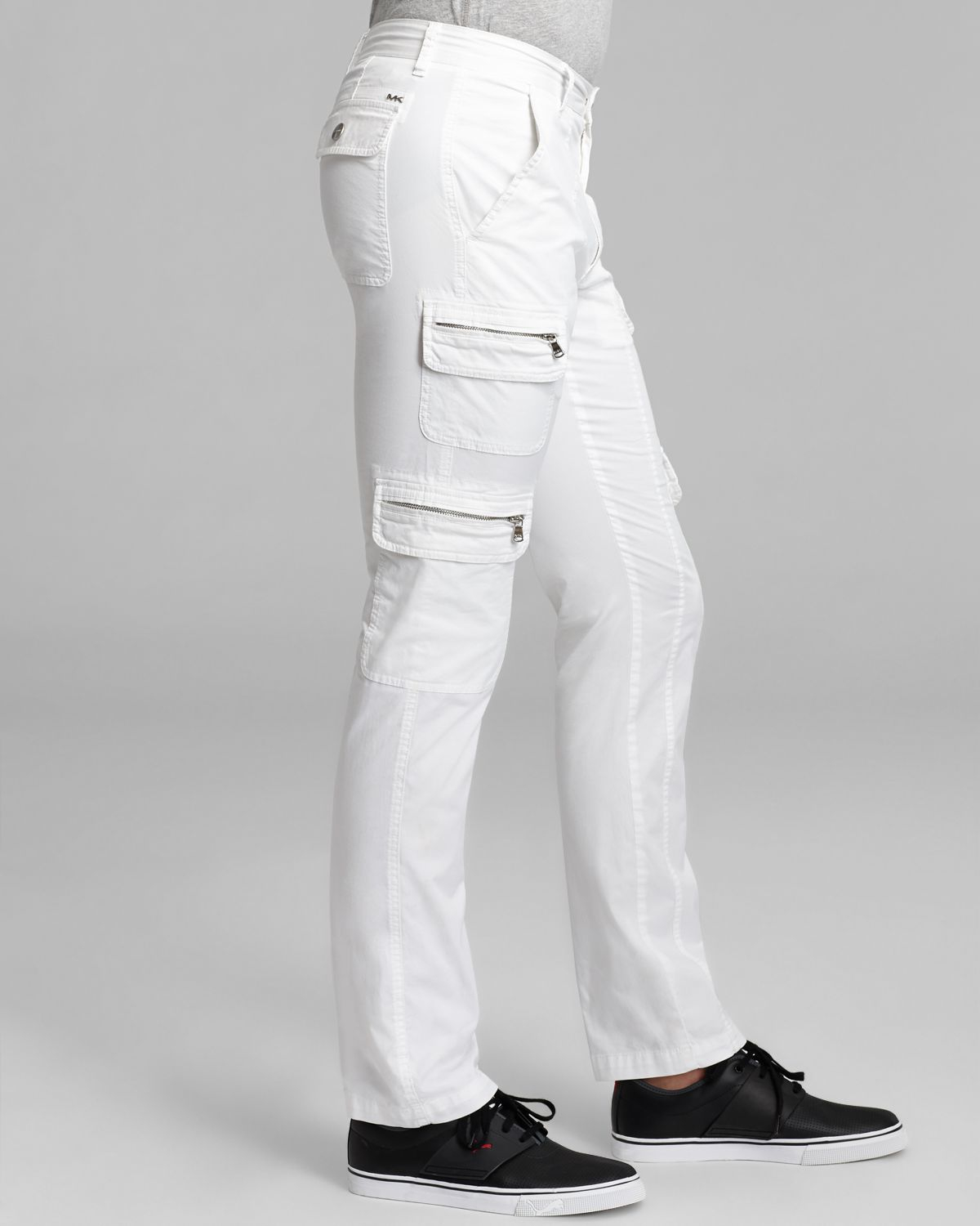 white cargo pants lyst michael kors twill cargo in white for 28642