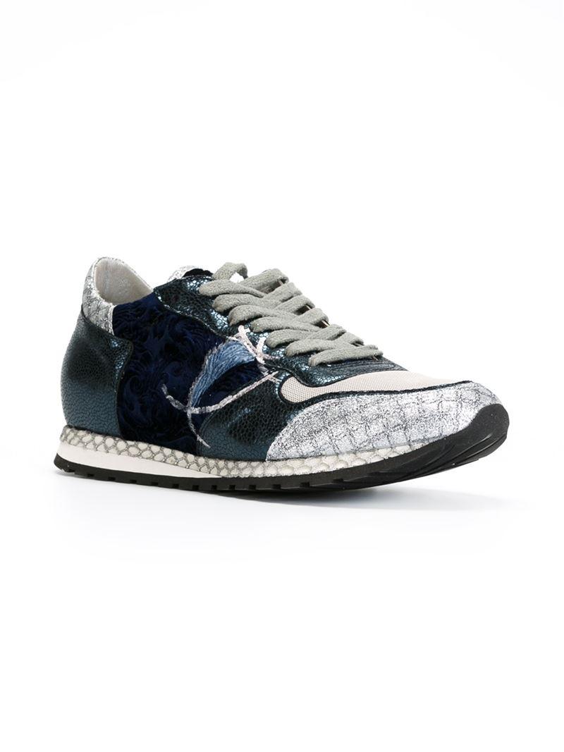 philippe model velvet panelled sneakers in gray grey lyst. Black Bedroom Furniture Sets. Home Design Ideas