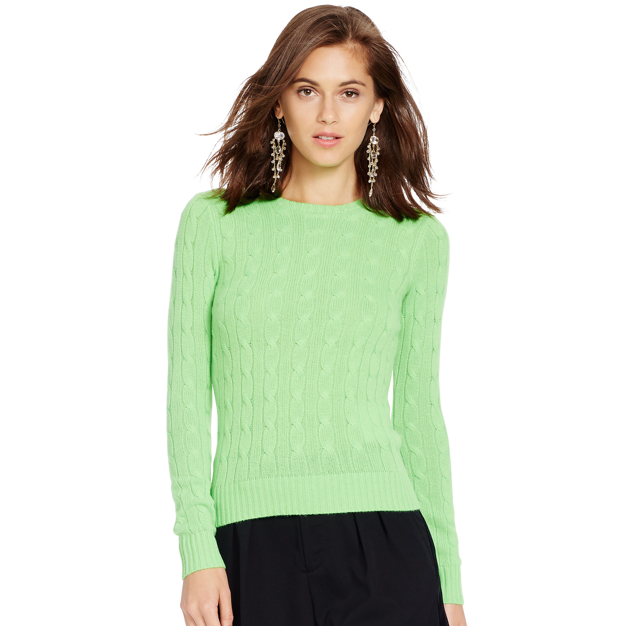 Polo ralph lauren Cable-knit Cashmere Sweater in Green | Lyst