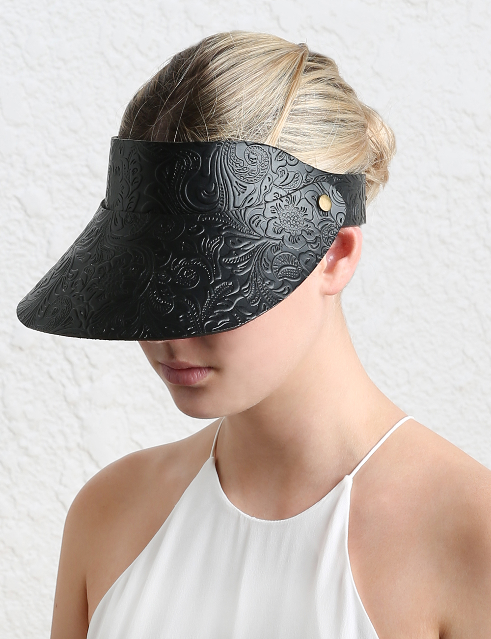 Lyst - Zimmermann Tooled Floral Leather Visor in Black fa191e4fd64