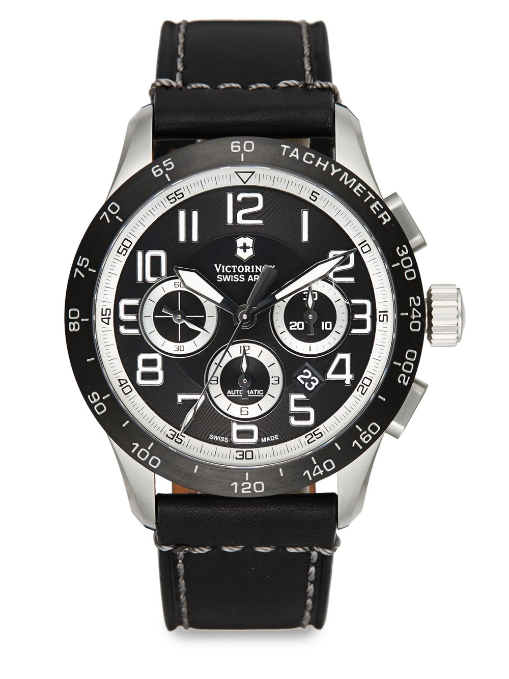 Victorinox Airboss Automatic Leather Strap Watch In Black