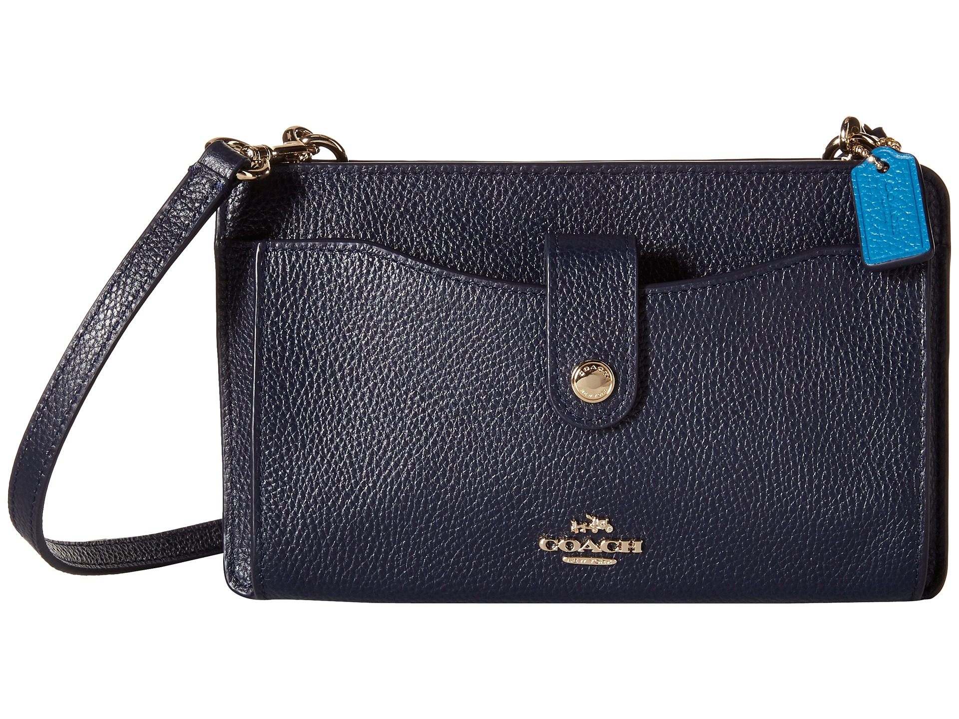 sweden coach leather light gold navy turnlock crossbody 06dd3 076e2  new  style lyst coach color block pop up weekend crossbody in blue 09037 1d494 5ea9e4f64cce6