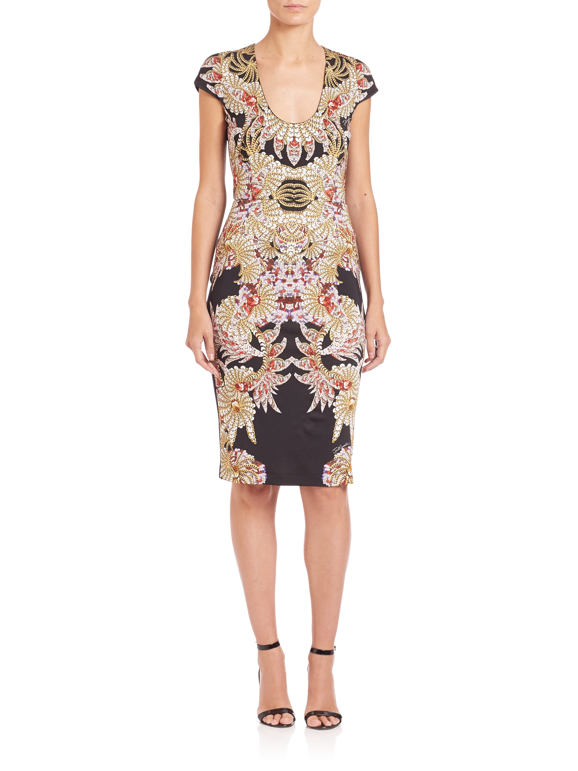 just cavalli jersey fairy mermaid print dress lyst