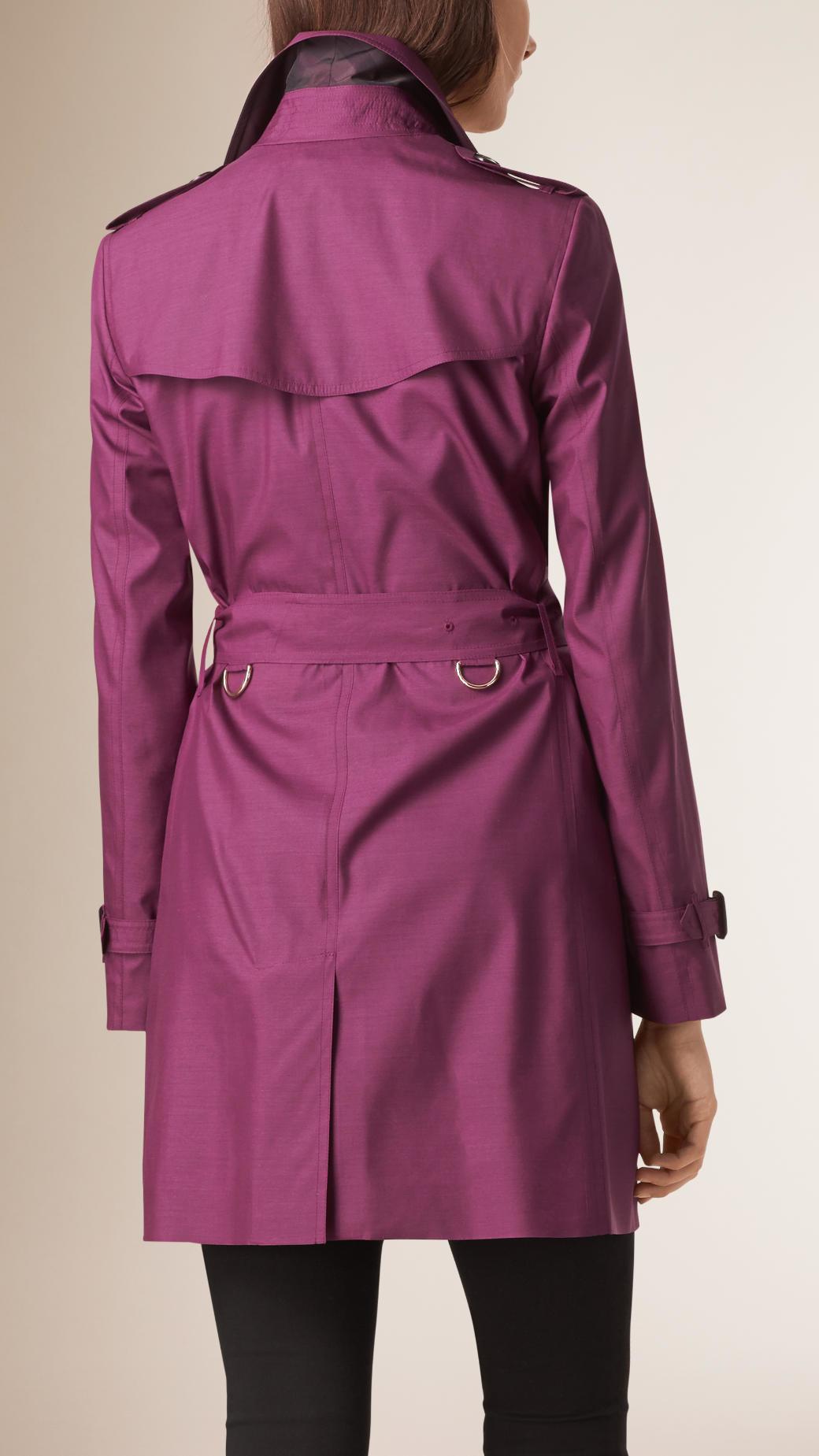 Burberry Silk Wool Trench Coat Bright Burgundy In Purple