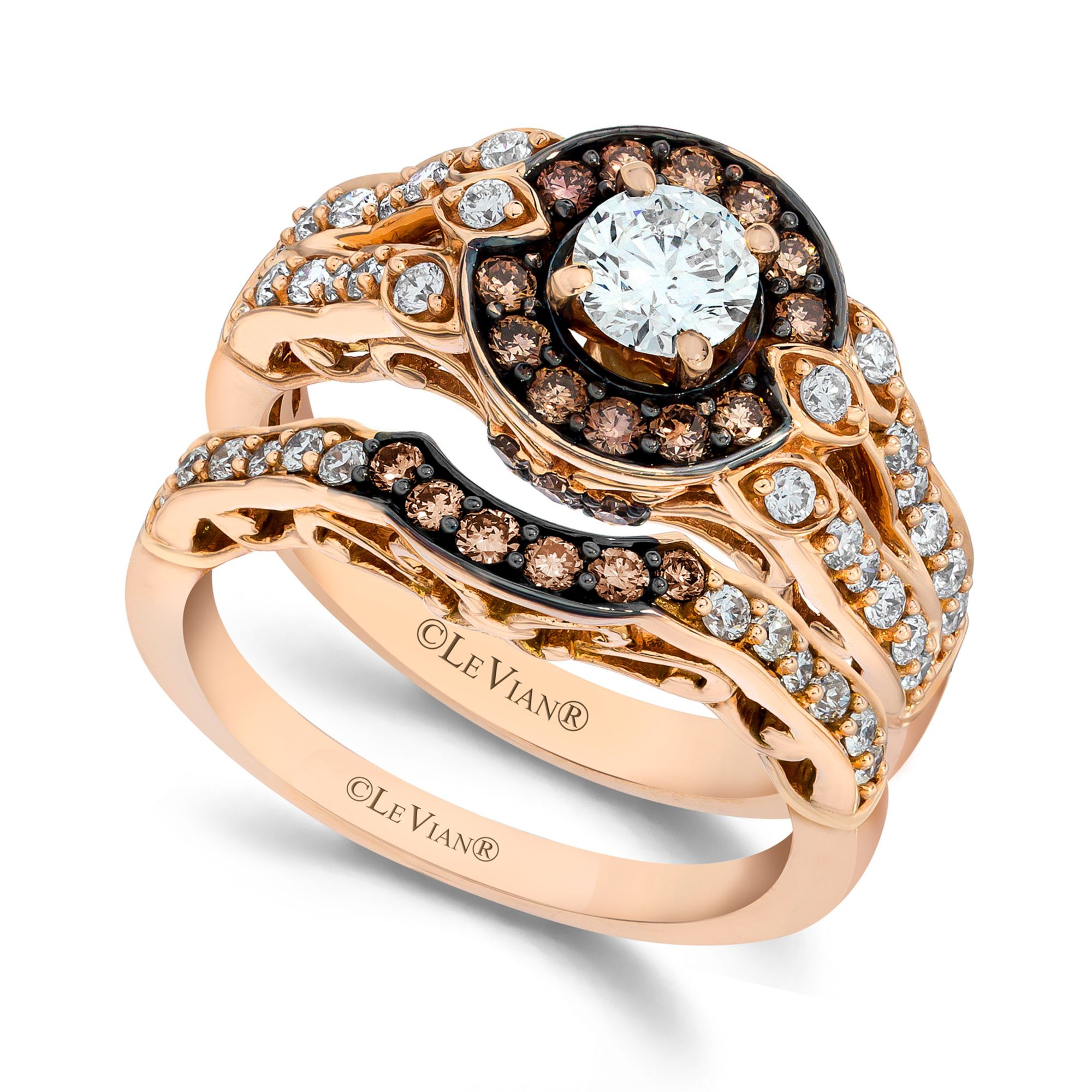 chocolate wedding rings lyst le vian chocolate and white engagement ring 2917