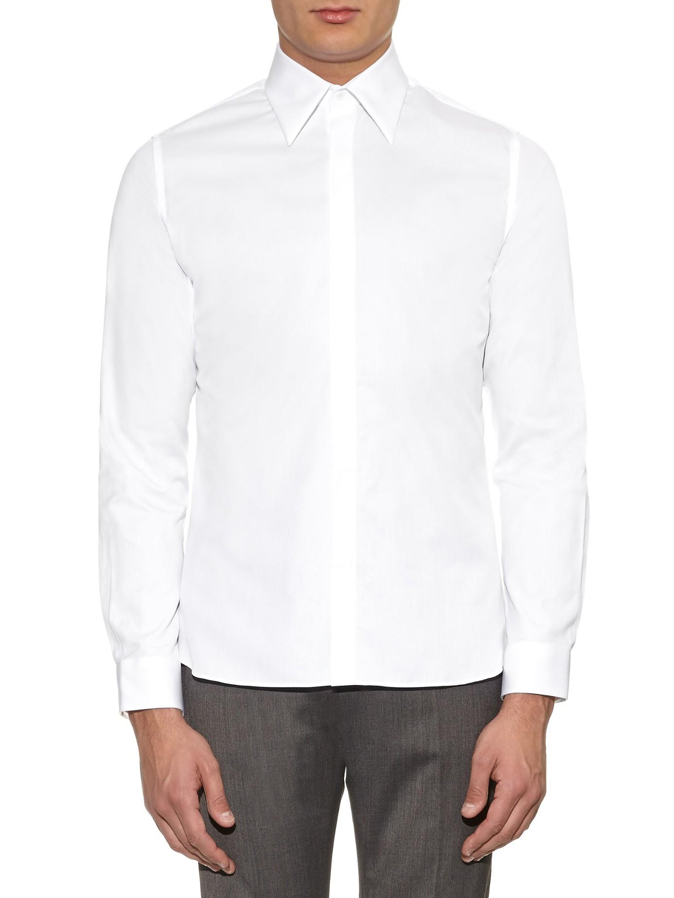 Lyst mathieu jerome long collar single cuff cotton shirt for Single cuff dress shirt