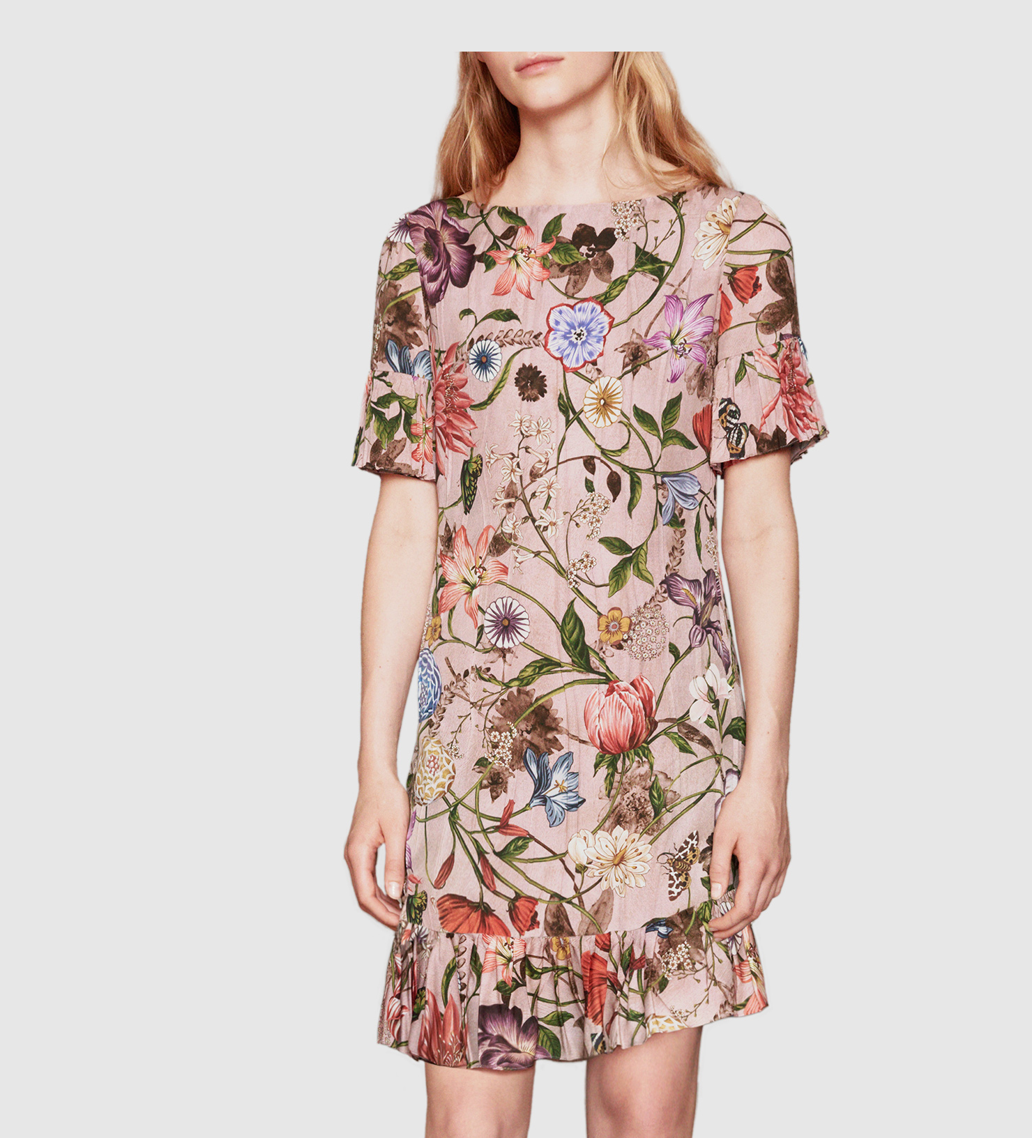 4b3e780c2 ... uk gucci garden print silk dress in pink lyst 44a06 3f0e3