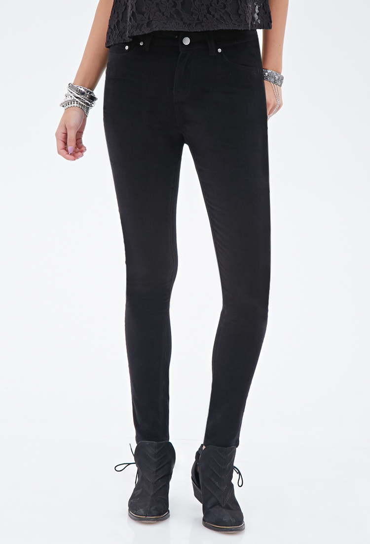 Forever 21 Skinny Corduroy Pants in Black | Lyst