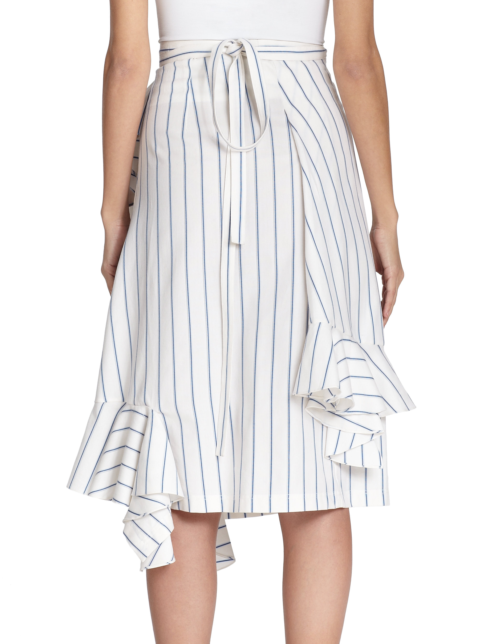 Lyst J W Anderson Striped Ruffle Wrap Skirt In White