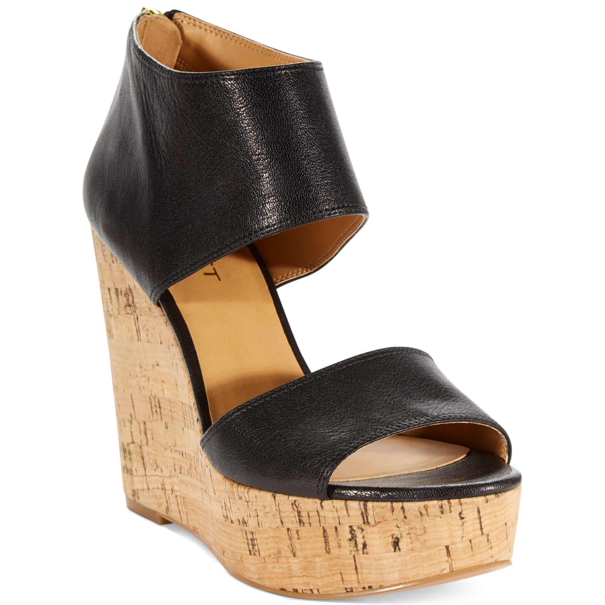 nine west caswell platform wedge sandals in black lyst