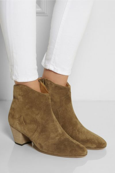 marant the dicker suede ankle boots in brown lyst
