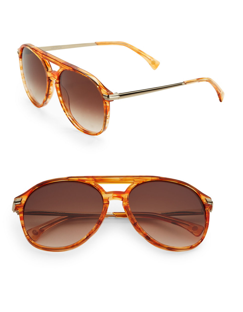 wildfox baroness 58mm aviator sunglasses in brown lyst