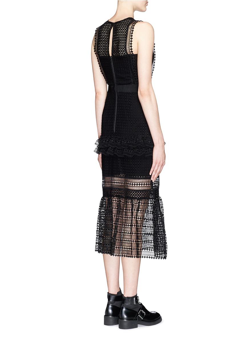 Black lace column dress