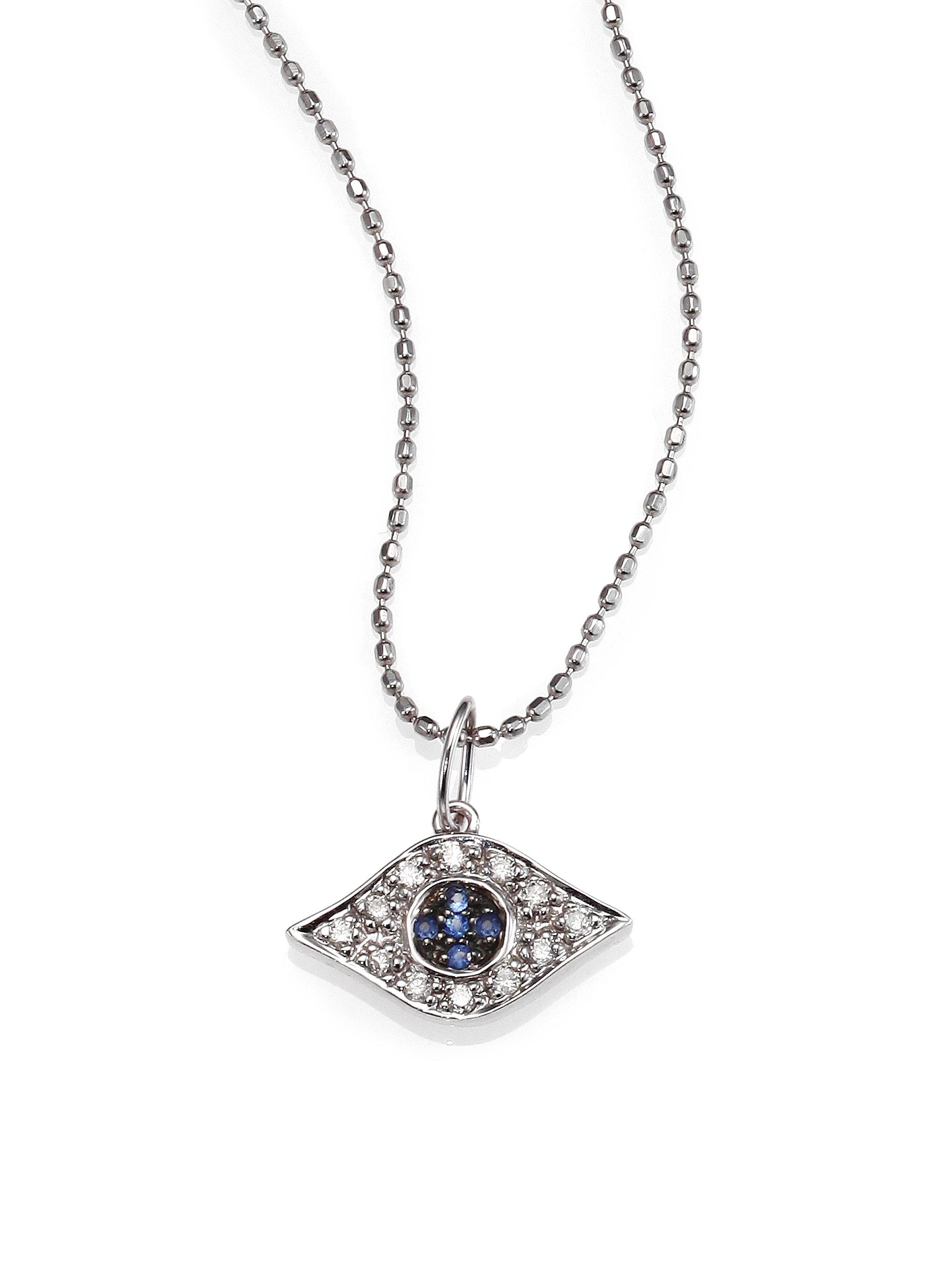Lyst sydney evan diamond sapphire 14k white gold small evil gallery aloadofball Gallery