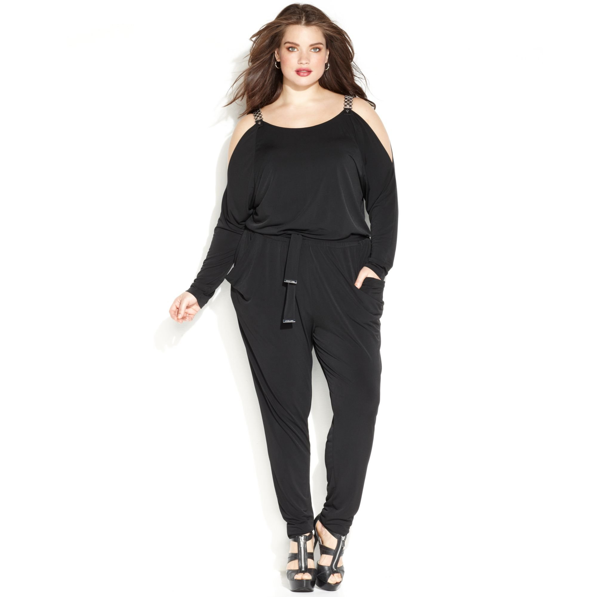 michael kors michael plus size chain link belted jumpsuit in black lyst. Black Bedroom Furniture Sets. Home Design Ideas
