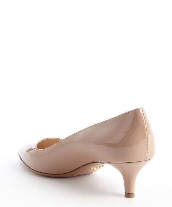 Lyst - Prada Nude Patent Leather Kitten Heel Pumps in Natural