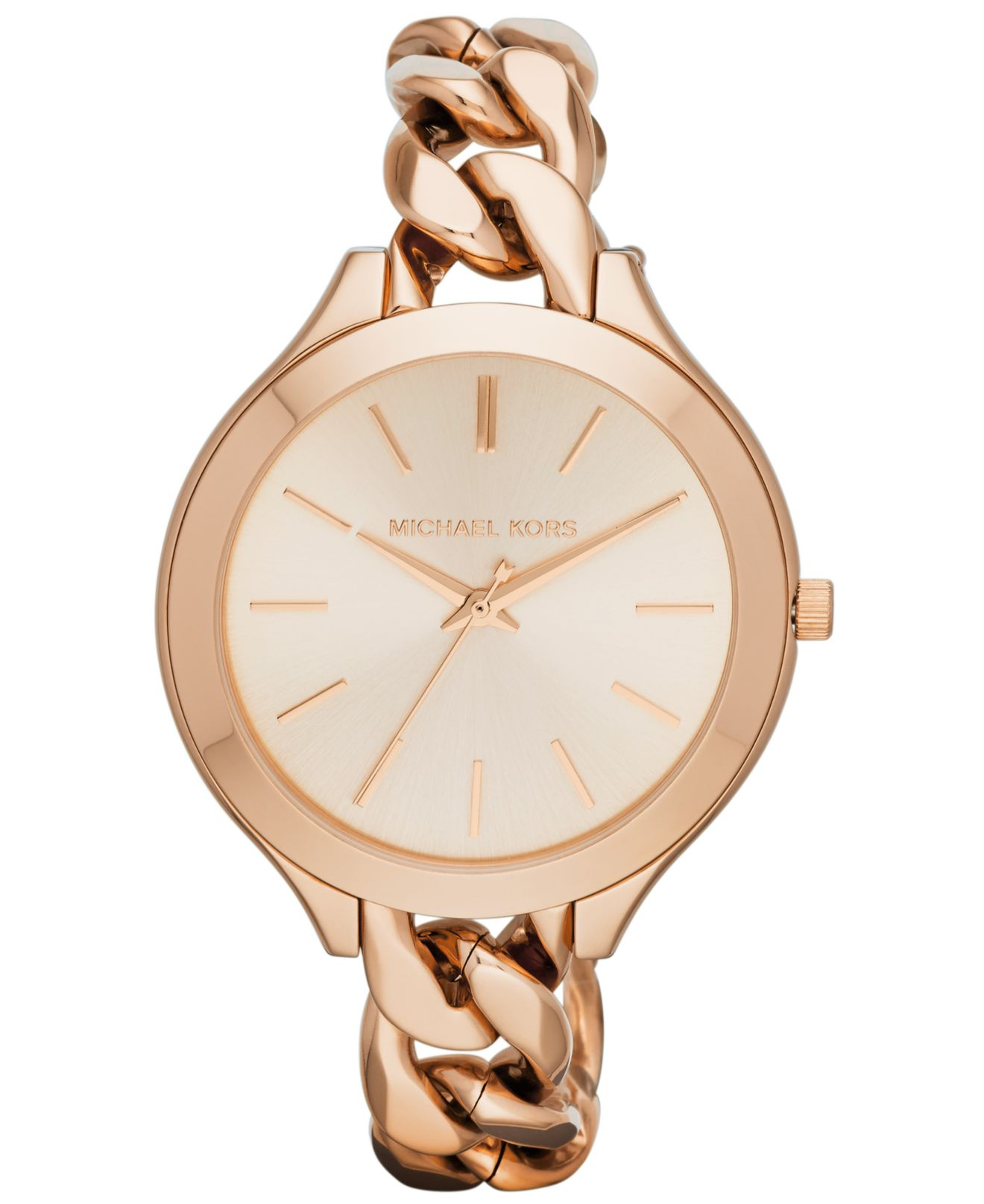 41e1deca5381 Gallery. Lyst Michael Kors Women S Slim Runway Rose Gold Tone ...