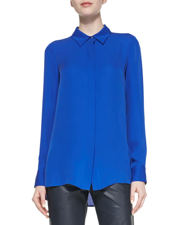 e9132f708bc75 Blue Silk Ladies Shirt