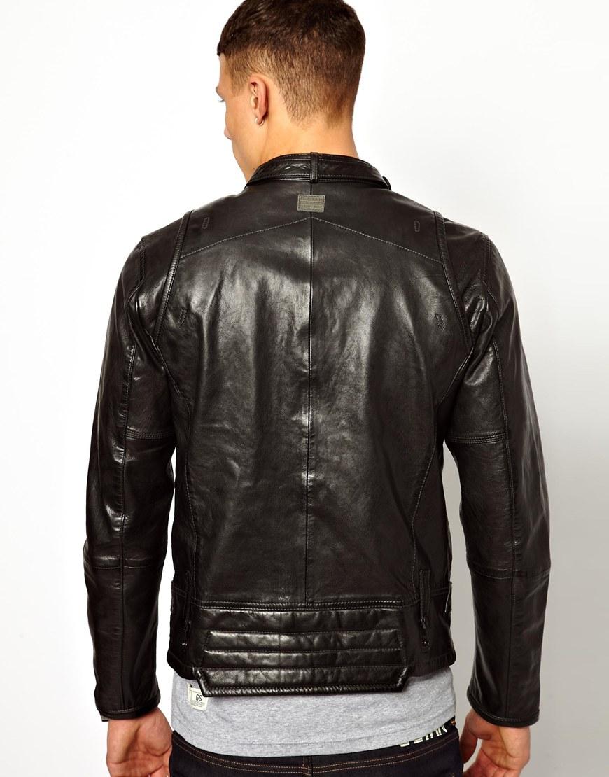 lyst g star raw g star leather jacket chopper biker in black for men. Black Bedroom Furniture Sets. Home Design Ideas