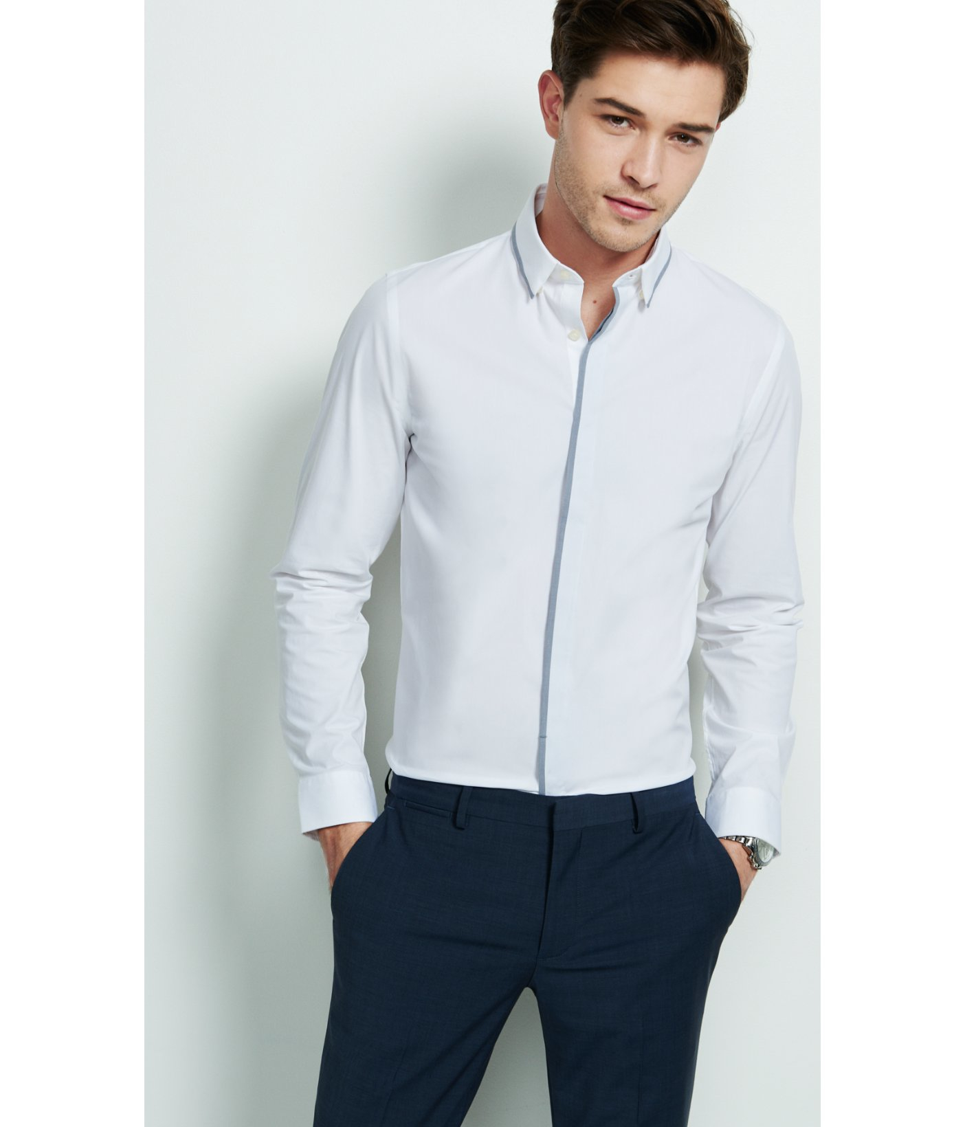 Express Fitted Piped Dress Shirt in White for Men | Lyst