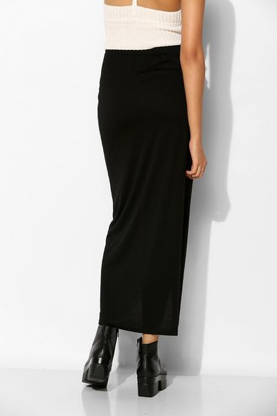 sparkle fade knit crossover maxi skirt in black lyst