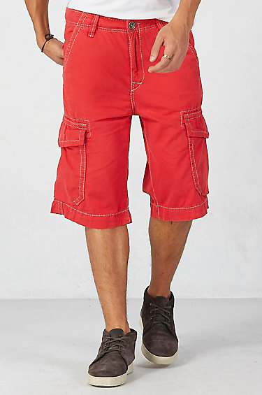 True religion Isaac Trooper Mens Cargo Short in Red for Men | Lyst