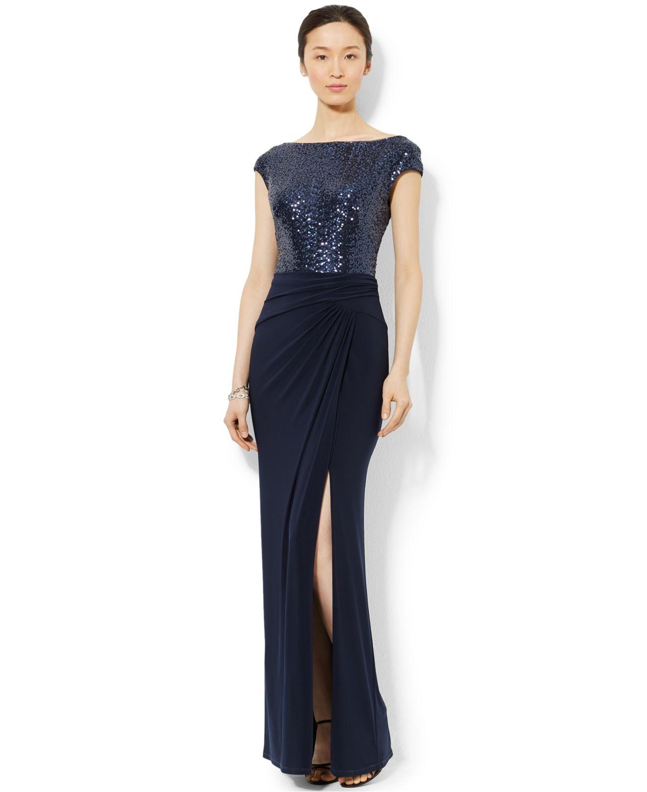 60241b525 Lauren by Ralph Lauren Sequined Boat-Neck Dress in Blue - Lyst